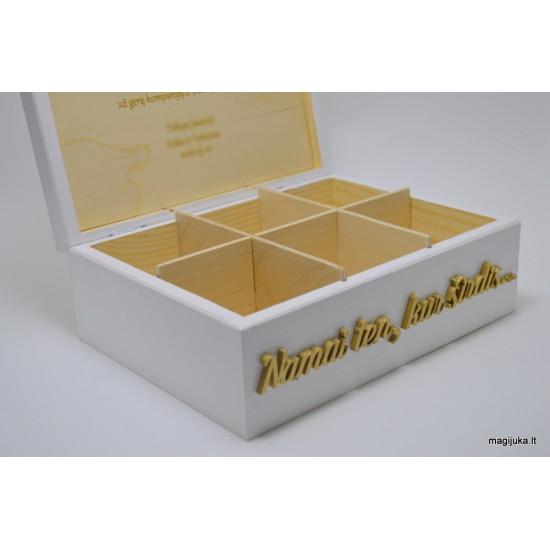 """Balta arbatos dėžutė """"Širdis"""""""