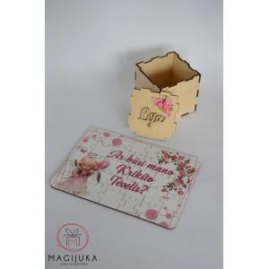 """Spalvotas kvietimas - dėlionė dėžutėje """"Rožinis angelas"""""""