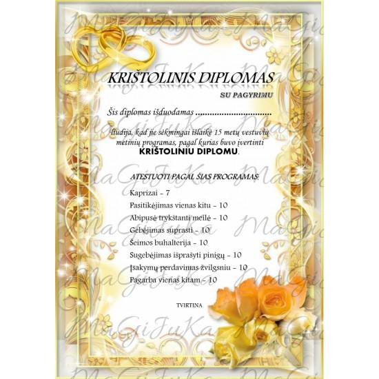 """Krištolinių vestuvių diplomas """"2"""""""