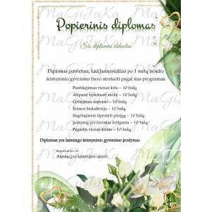 """Popierinių vestuvių diplomas """"1"""""""