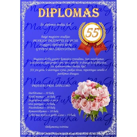 Diplomas vyrui 55-mečio proga