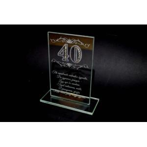 Graviruotas 40 jubiliejaus stiklinis sveikinimas
