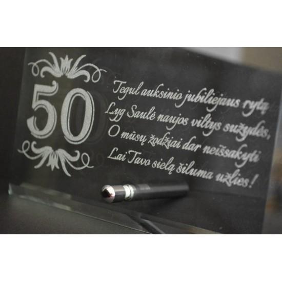 Graviruotas 50 jubiliejaus stiklinis sveikinimas