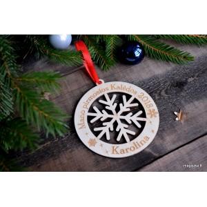 """Pirmųjų kalėdų žaisliukas """"Medinė snaigė"""""""