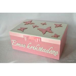 """Krikštadėžė """"Rožiniai drugeliai"""""""