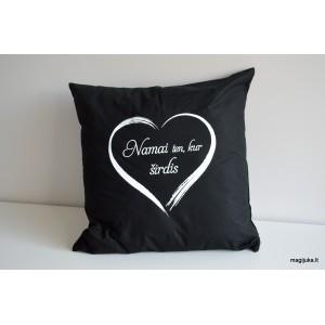 """Dekoratyvinė pagalvėlė """"Namai ten, kur širdis"""""""