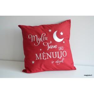"""Dekoratyvinė pagalvėlė """"Myliu iki mėnulio ir atgal"""""""