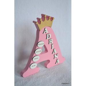 """Dekoruota raidė """"Rožinė karūna"""""""