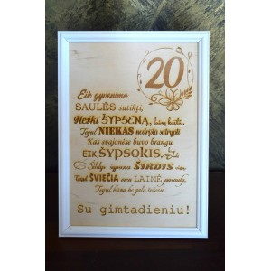 Medinis sveikinimas 20 gimtadienio proga