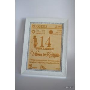Vestuvių dienos kalendoriaus lapelis rėmelyje