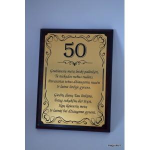 """50-tojo gimtadienio sveikinimas """"Auksinis 50"""""""