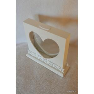 """Dėžutė smėlio ceremonijai """"Širdis"""" su pavarde"""