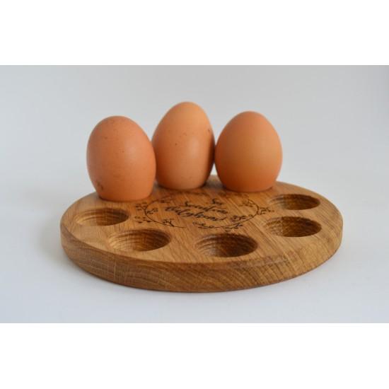 """Ąžuolinis kiaušinių laikiklis """"Apvalus"""""""