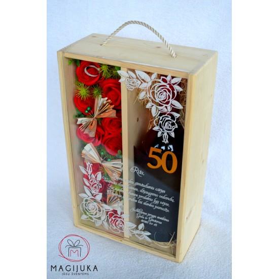 """Dviguba vyno dėžė """"Rožės"""""""