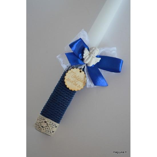 """Dekoruota krikšto žvakė """"Mėlynas angelas"""""""